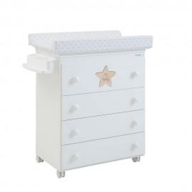 Комод Micuna My Baby (Микуна Май Бэби) пеленальный B-947 white матрасик stars beige